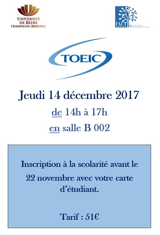 Prochain TOEIC le Jeudi 14 dcembre Inscrivezvous IUT de Troyes